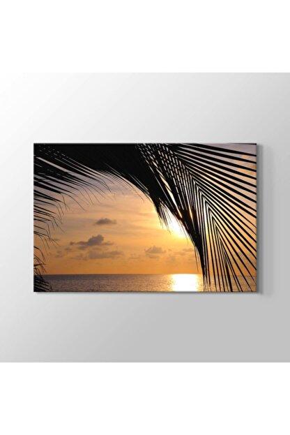 TabloHane Sunset And A Palm Tree Kanvas Tablo
