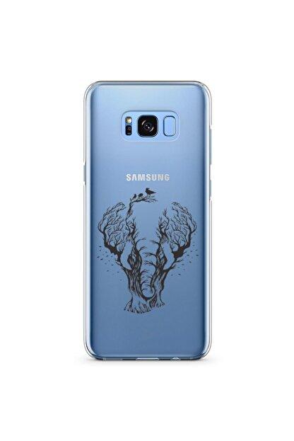 Zipax Samsung Galaxy S8 Plus Kılıf Fil Ve Orman Desenli Baskılı Silikon Kilif - Mel-110206