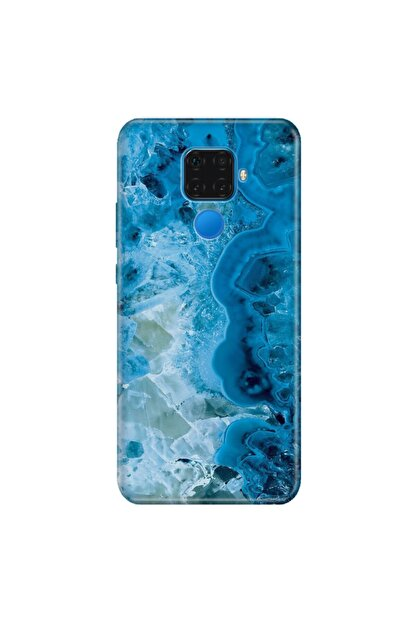 cupcase Huawei Mate 30 Lite Kılıf Esnek Silikon Kapak Mavi Ametist Desen + Temperli Cam