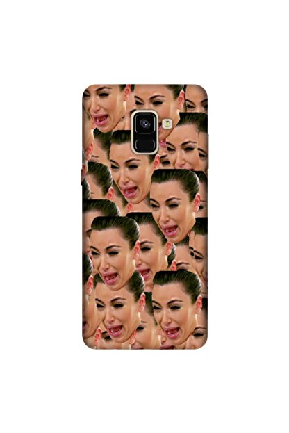 cupcase Samsung Galaxy A8 Plus 2018 Kılıf Silikon Kapak Kardashian Cry Desen + Temperli Cam