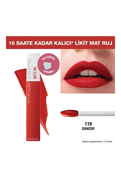 Maybelline Likit Mat Ruj - SuperStay Matte Ink City Edition Lipstick 118 Dancer