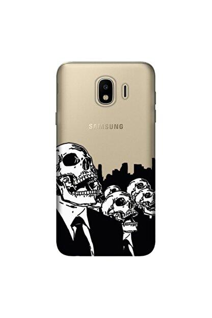 cupcase Samsung Galaxy J4 Kılıf Hd Silikon Koruma Skull Red Kapak + Nano Cam