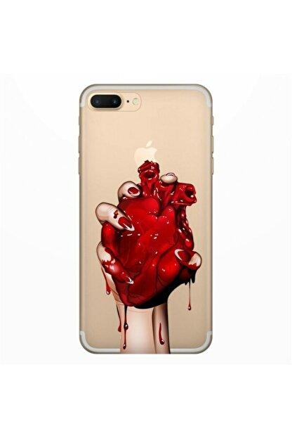 cupcase Iphone Se 2020 Kanlı Kalp Esnek Silikon Koruma Kapak ve Nano Cam