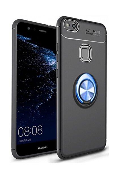 Kilifplus Huawei P10 Lite Kılıf Auto Focus Serisi Standlı Yüzüklü Kapak - Mavi - Siyah