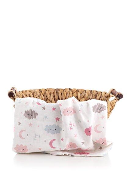 Caline Baby Müslin Bezi Örtü Bulut Desen - Pembe 120x120 Cm + 4 Adet Ağız Mendili