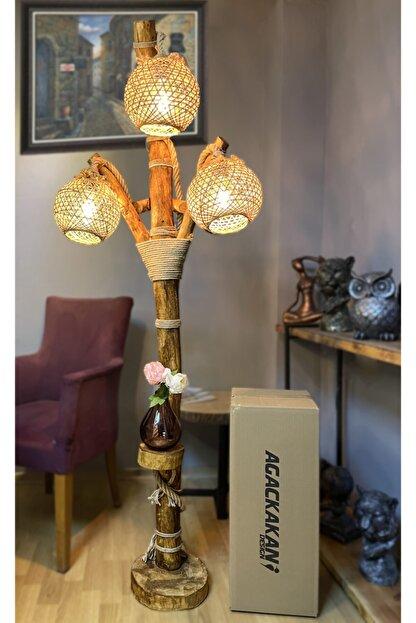 Ağaçkakan Design Doğal Ağaç Lambader Halikarnas Serisi Halatlı Lambader Ceviz 180 Cm