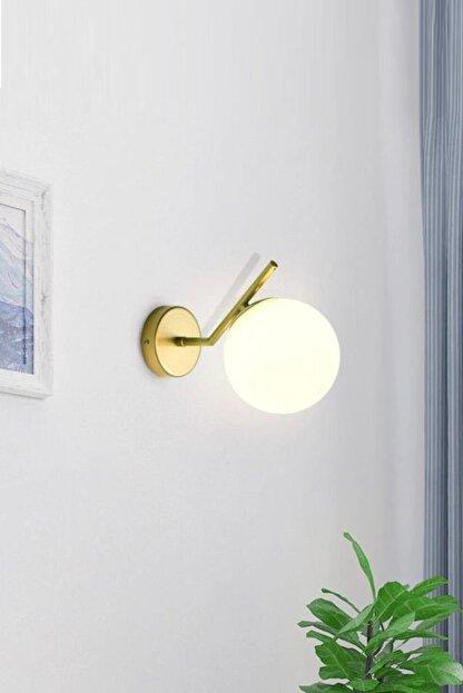 Ömür Avize Kama Mat Gold Kasa Beyaz Kapalı Opal Camlı Aplik