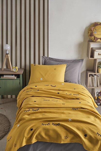 Enlora Home %100 Doğal Pamuk Pike Takımı Tek Kişilik Dide Sarı