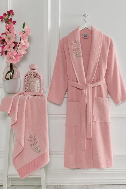 Elmira Textile Şalyaka Unisex Pamuklu Havlulu Banyo Bornoz Takımı
