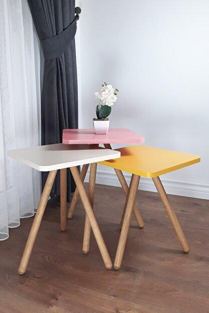 interGO Renkli Üçlü Zigon Sehpa Ahşap Ayaklı Kare Tasarım Pastel Renkler Sarı Krem Pembe