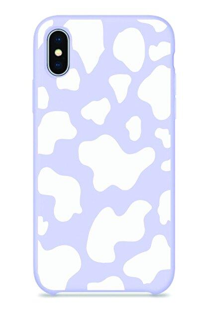 NEWTONS Iphone X/xs Lila Renkli Inek Desenli Baskılı Slikon Kılıf