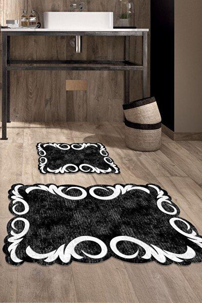 Colizon 60x90 - 50x60 Black & White Dijital Banyo Halısı Lazer Kesim Klozet Takımı 2'li Paspas Seti