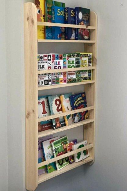 Miço Kids Montessori Çocuk Odası Eğitici Kitaplık Ahşap Duvara Monte 4 Raflı