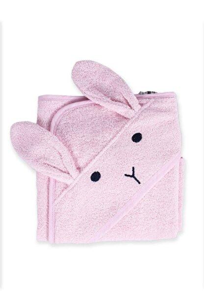 Cigit Kulaklı Tavşan Nakışlı Bebek Banyo Havlusu 75x75 Cm Pudra Pembe