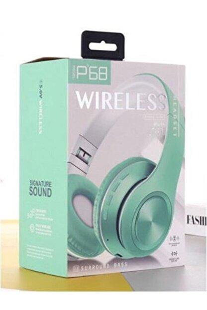 Universal P68 Bluetooth Kablosuz Stereo Kulaklık - Yeşil