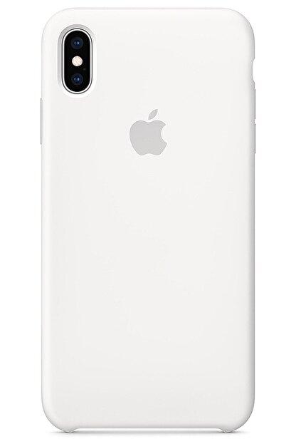 Ebotek Iphone Xs Max Kılıf Silikon Içi Kadife Lansman Beyaz
