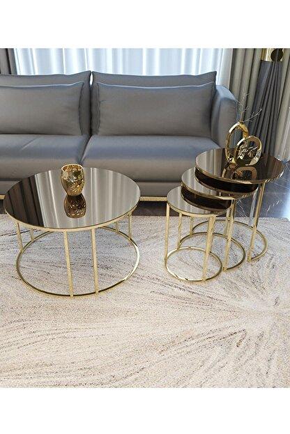 Pukka Sehpa Zigon Ve Orta Sehpa Seti Gold Metal Ayak Bronz Aynalı Takım