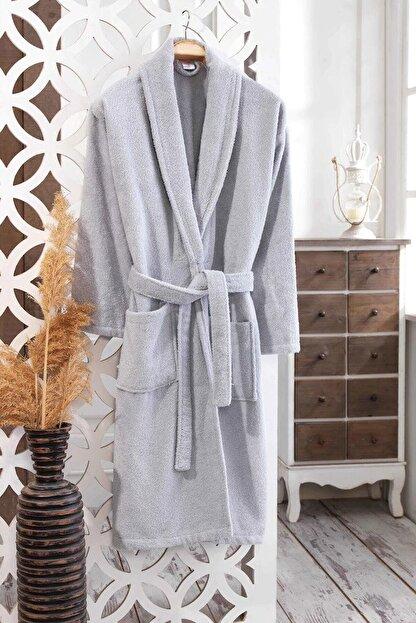 Elmira Textile Unisex Gri Pamuklu Şal Yaka Bornoz 530