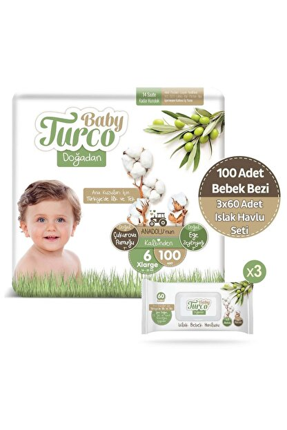 Baby Turco Doğadan 6 Numara Xlarge 100 Adet + 3x60 Doğadan Islak Havlu Seti
