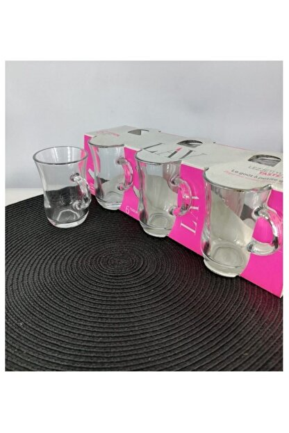 Lav Yudum 6 Parça Kulplu Çay Bardağı