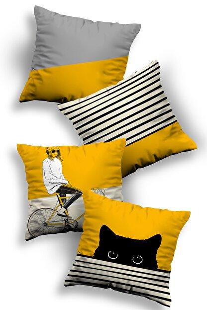 Ottoson Home Özel Tasarım Dekoratif Kırlent Kılıfı 4lü