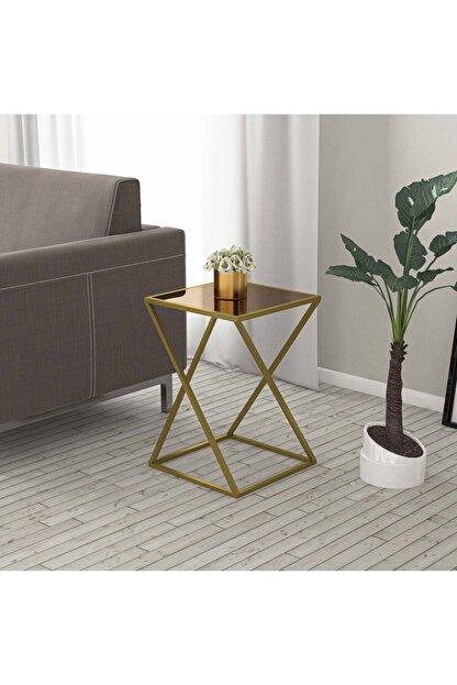 tino furniture Home Star Gold Yan Sehpa Bronz Aynalı Metal Ayaklı Yan Sehpa