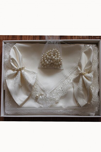 Estelica Kırık Beyaz Pitikare Masa Örtüsü Takımı 12 Kişilik 26 Parça 160x260 cm