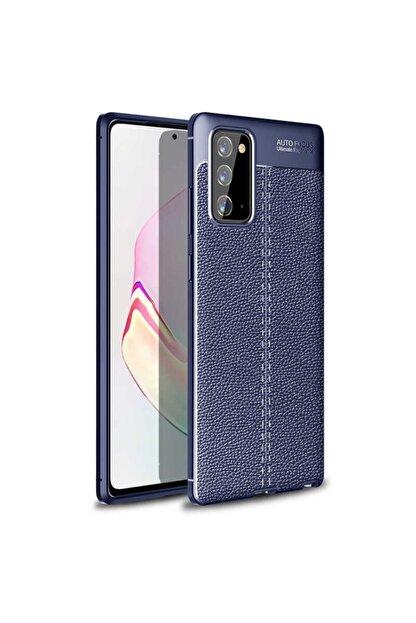 DAFNİAKSESUAR Samsung Galaxy Note 20 Uyumlu Kılıf Deri Görünümlü Silikon Lacivert