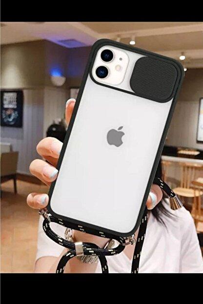 CNSTAKI Iphone 11 Kamera Korumalı Ipli Boyun Askılı Telefon Kılıfı