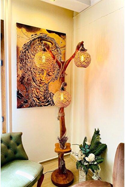 OzdenWoodHome Doğal Ağaç Lambader Min.180 Cm Akyaka Serisi