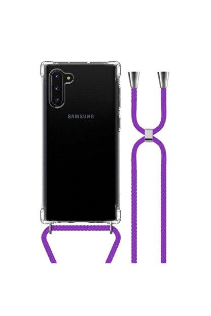 MobileGaraj Galaxy Note 10 Uzy Şeffaf Boyun Askılı Mor Şeritli Kılıf+kitap
