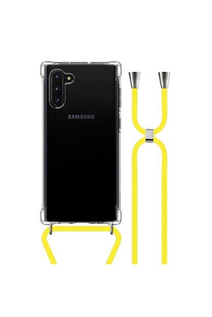 MobileGaraj Galaxy Note 10 Uzy Şeffaf Boyun Askılı Sarı Şeritli Kılıf+kitap