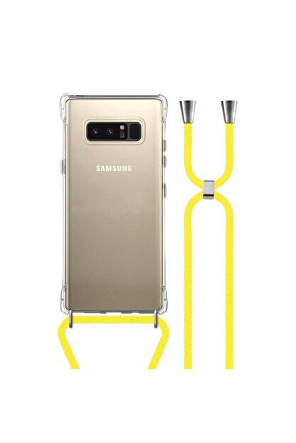 MobileGaraj Galaxy Note 8 Uzy Şeffaf Boyun Askılı Sarı Şeritli Kılıf+kitap