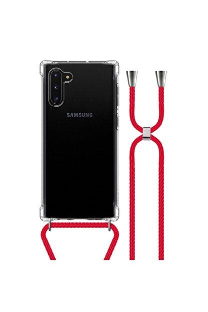 MobileGaraj Galaxy Note 10 Uzy Şeffaf Boyun Askılı Kırmızı Şeritli Kılıf+kitap