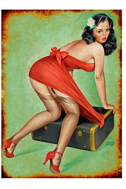 Tablomega Kırmızı Elbiseli Kadın Mdf Tablo 50cm X 70cm
