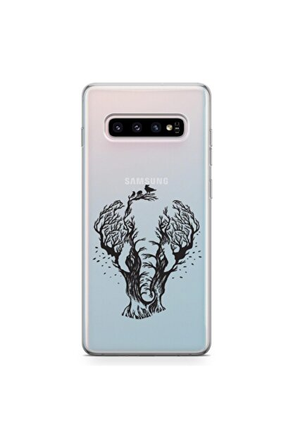 Zipax Samsung Galaxy S10 Plus Kılıf Fil Ve Orman Desenli Baskılı Silikon Kilif - Mel-110250