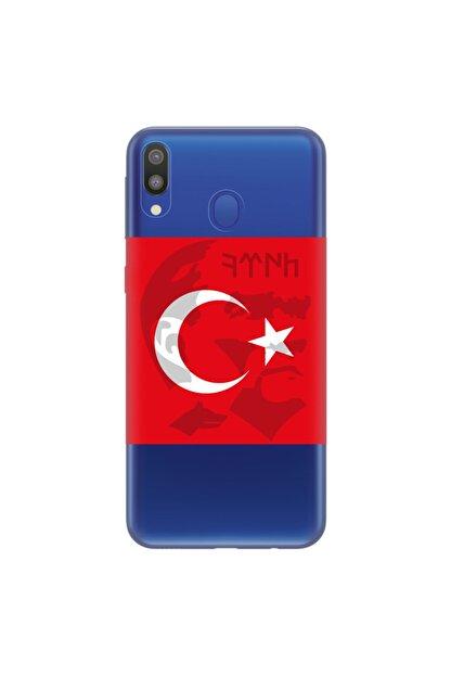 cupcase Samsung Galaxy A20 Kılıf Esnek Silikon Kapak Göktürk Mustafa Kemal Atatürk Desen + Temperli Cam