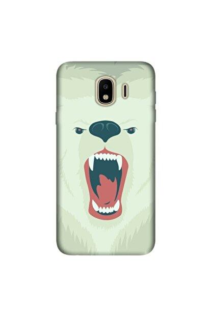 cupcase Samsung Galaxy J4 Kılıf Esnek Silikon Kapak Bear Fight Desen + Temperli Cam