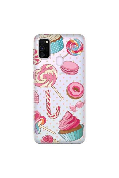 cupcase Samsung Galaxy M30s Kılıf Silikon Kapak Cupcake Donut Desenli + Temperli Cam