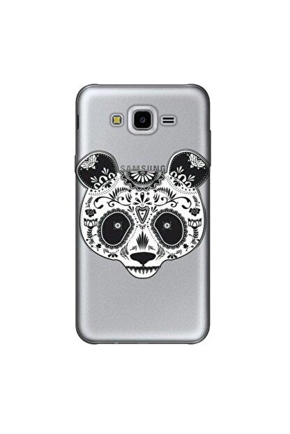 cupcase Samsung Galaxy J7 Core Kılıf Silikon Kapak Pandass Desen + Temperli Cam
