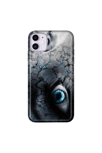 cupcase Iphone 11 6.1 Inc Kılıf Hd Esnek Silikon Koruma Mavi Gözler Kapak + Nano Cam