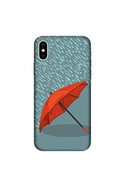 cupcase Iphone Xs 5.8 Inc Kılıf Hd Esnek Silikon Koruma Kırmızı Şemsiye Kapak + Nano Cam