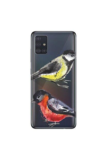 cupcase Samsung Galaxy A71 Kılıf Hd Silikon Koruyucu Muhabbet Kuşu Kapak + Nano Cam