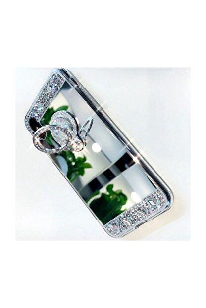 Ksyaccessories Iphone Xs Max Gümüş Aynalı Ve Taşlı Selfie Yüzüklü Telefon Kılıfı