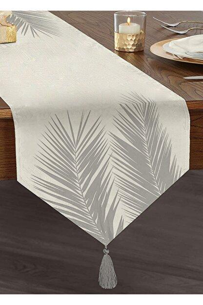Realhomes Beyaz Zeminde Gri Palmiye Yaprakları Özel Tasarım Püsküllü Şönil Üçgen Runner