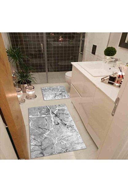 Apree Home Granit Gri 2'li 60x100 - 50x60 Dijital Baskılı, Kaydırmaz, Banyo Paspası Seti