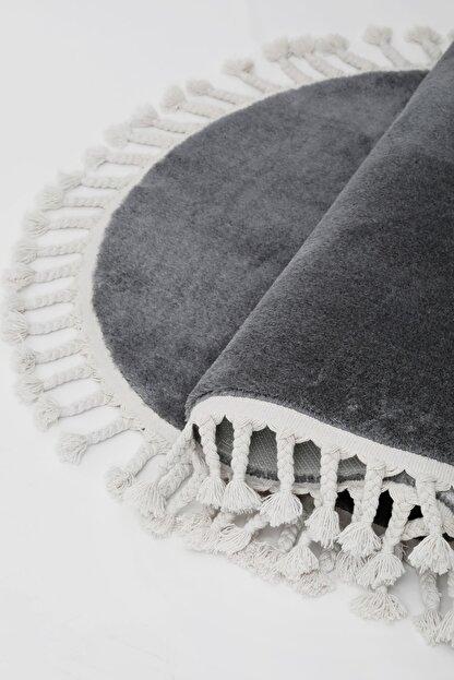 Dijidekor Koyu Gri Oval Post Dokuma Halı Saçaklı Peluş Yumuşacık Kaymaz Antibakteriyel 120x400