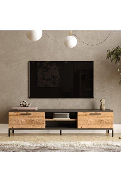 Yurudesign Royal 2 Kapaklı Metal Ayaklı Çam Tv Ünitesi Rl1-aa