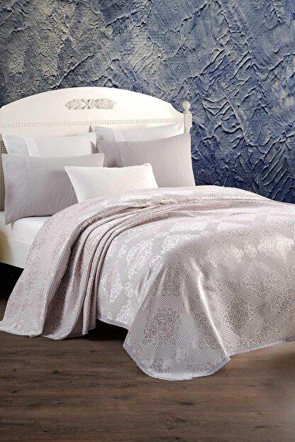 Elart Pamuklu Yatak Örtüsü Seti Çift Kişilik 4 Parça Laura Gümüş