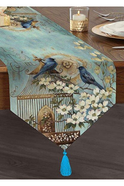 Realhomes Mavi Kuş Desen Dijital Baskılı Dekoratif Püsküllü Şönil Üçgen Runner